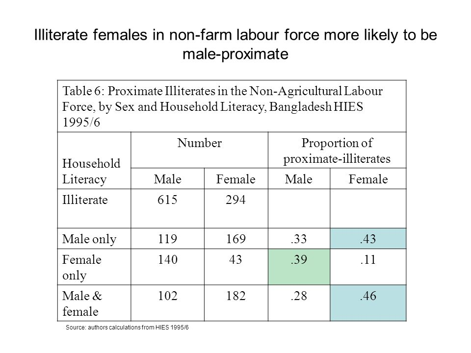Illiterate females in non-farm labour force more likely to be male-proximate Table 6: Proximate Illiterates in the Non-Agricultural Labour Force, by Sex and Household Literacy, Bangladesh HIES 1995/6 Household Literacy NumberProportion of proximate-illiterates MaleFemaleMaleFemale Illiterate615294 Male only119169.33.43 Female only 14043.39.11 Male & female 102182.28.46 Source: authors calculations from HIES 1995/6