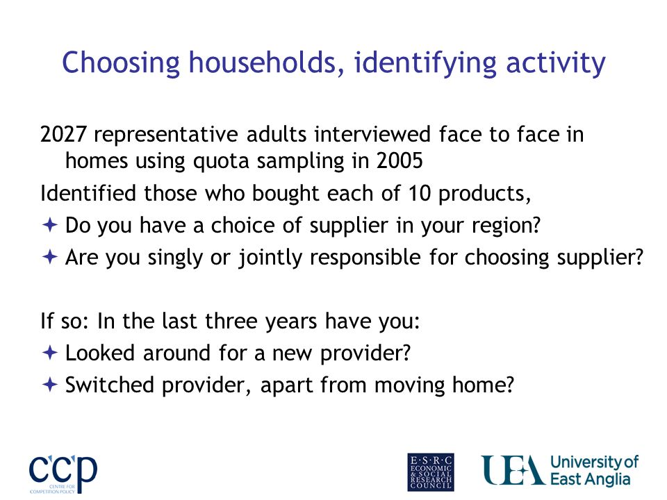 Choosing households, identifying activity 2027 representative adults interviewed face to face in homes using quota sampling in 2005 Identified those who bought each of 10 products, Do you have a choice of supplier in your region.