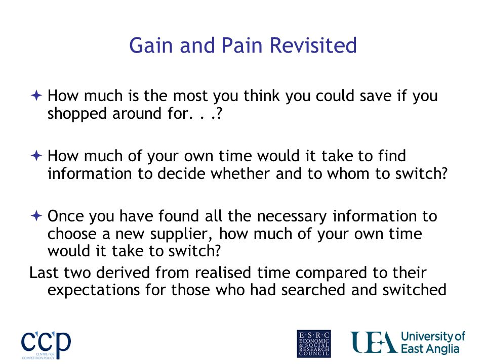 Gain and Pain Revisited How much is the most you think you could save if you shopped around for...? How much of your own time would it take to find in