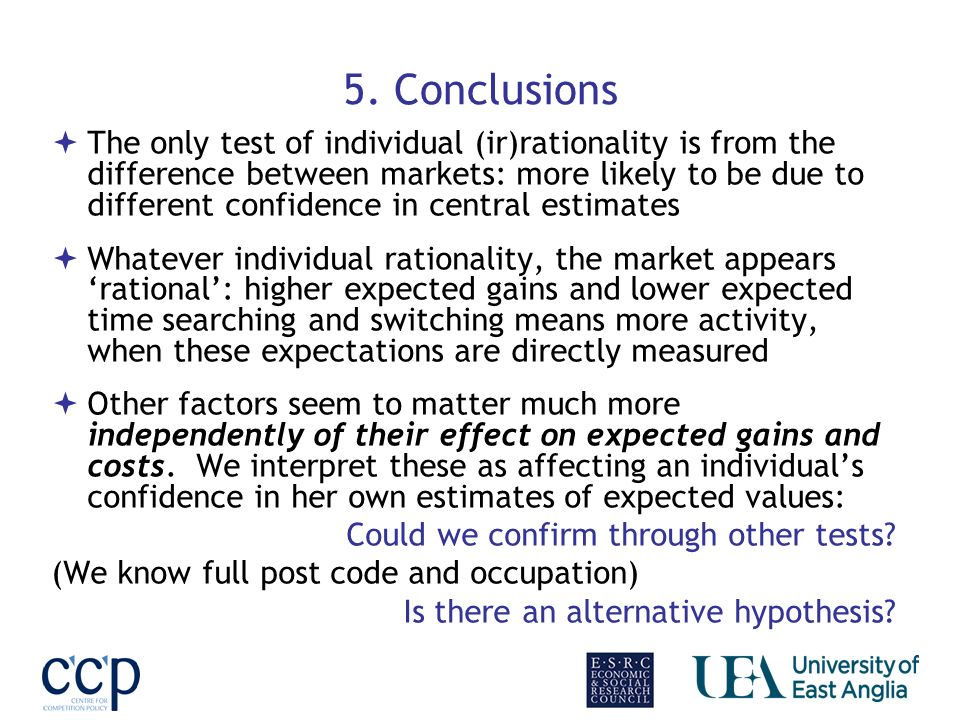 5. Conclusions The only test of individual (ir)rationality is from the difference between markets: more likely to be due to different confidence in ce