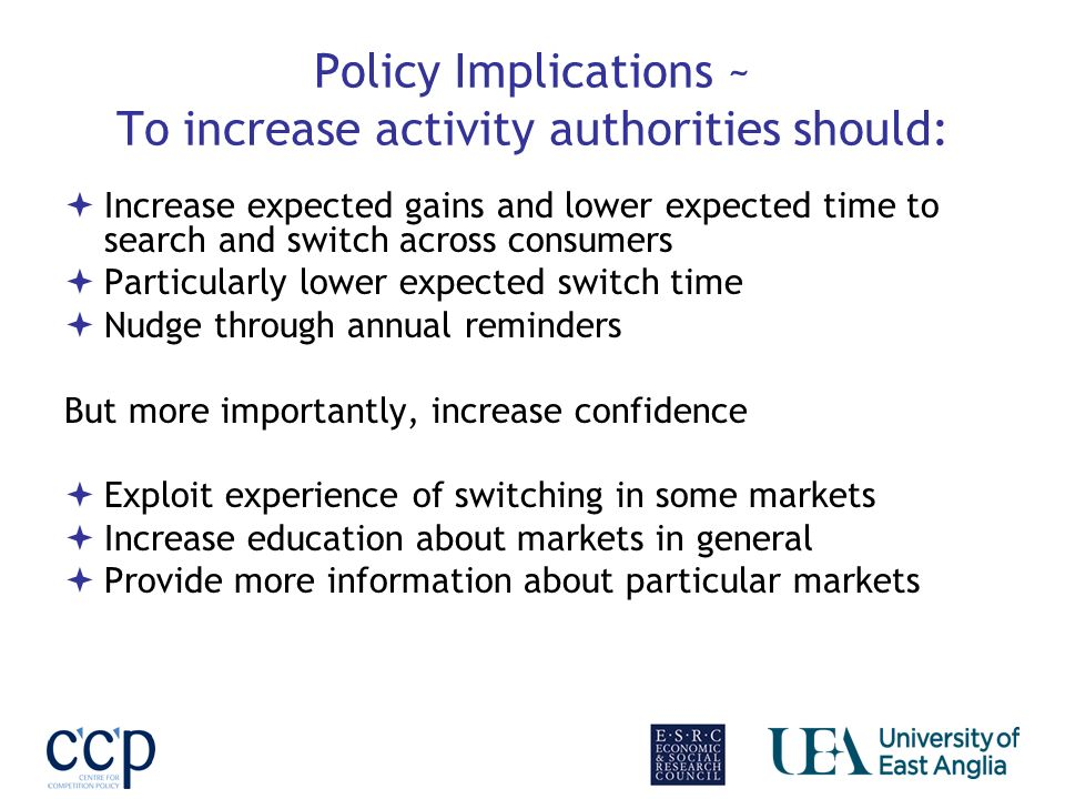Policy Implications ~ To increase activity authorities should: Increase expected gains and lower expected time to search and switch across consumers P