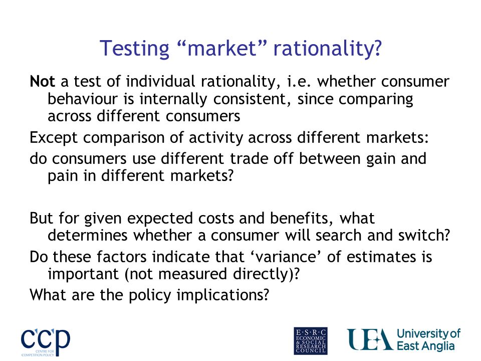 Testing market rationality? Not a test of individual rationality, i.e. whether consumer behaviour is internally consistent, since comparing across dif