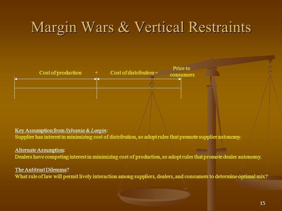 15 Margin Wars & Vertical Restraints Cost of productionCost of distribution = Price to consumers Key Assumption from Sylvania & Leegin: Supplier has interest in minimizing cost of distribution, so adopt rules that promote supplier autonomy.