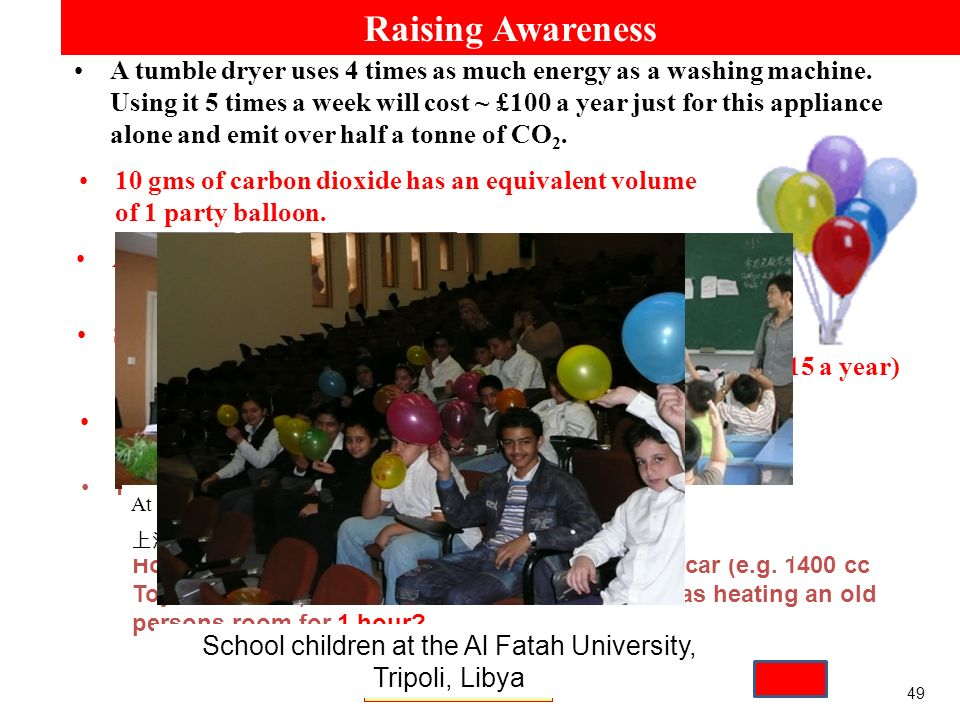 49 Raising Awareness A Toyota Corolla (1400cc): 1 party balloon every 60m.