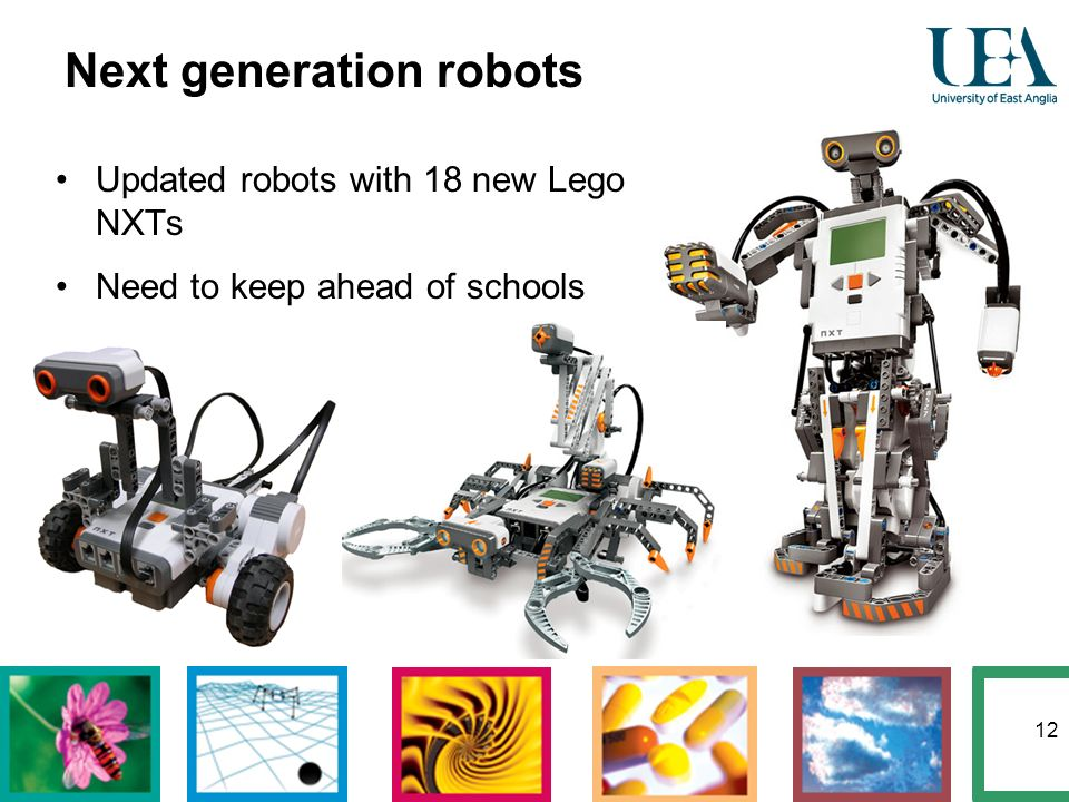 12 Updated robots with 18 new Lego NXTs Need to keep ahead of schools Next generation robots