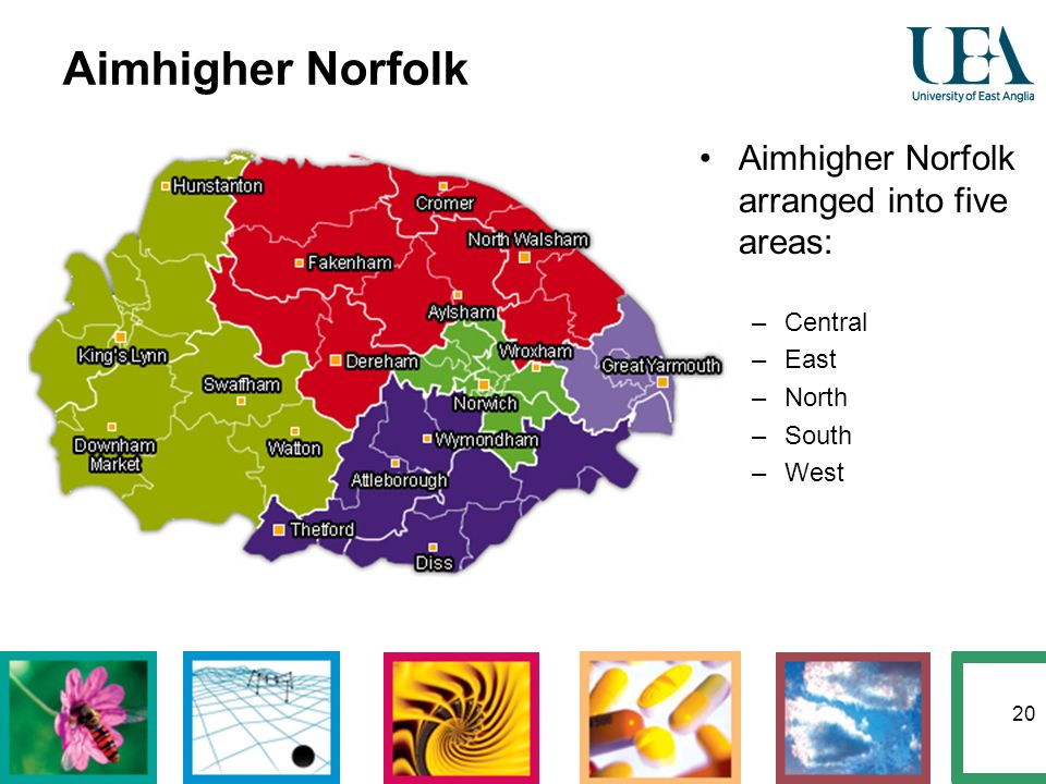20 Aimhigher Norfolk Aimhigher Norfolk arranged into five areas: –Central –East –North –South –West