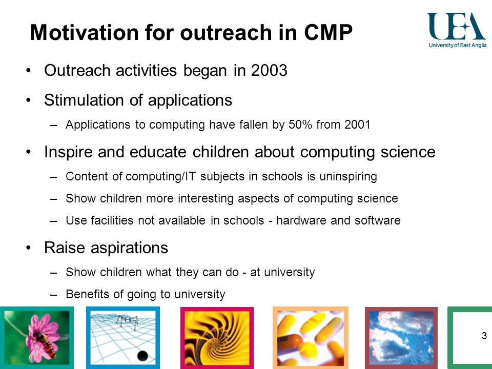 3 Motivation for outreach in CMP Outreach activities began in 2003 Stimulation of applications –Applications to computing have fallen by 50% from 2001