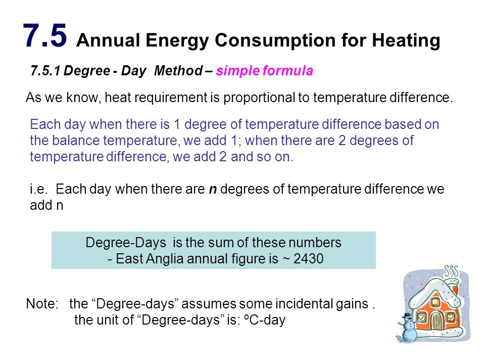 7.5 Annual Energy Consumption for Heating 7.5.1 Degree - Day Method – simple formula Each day when there is 1 degree of temperature difference based o