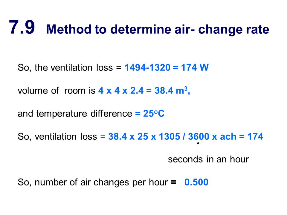 7.9 Method to determine air- change rate So, the ventilation loss = 1494-1320 = 174 W volume of room is 4 x 4 x 2.4 = 38.4 m 3, and temperature differ