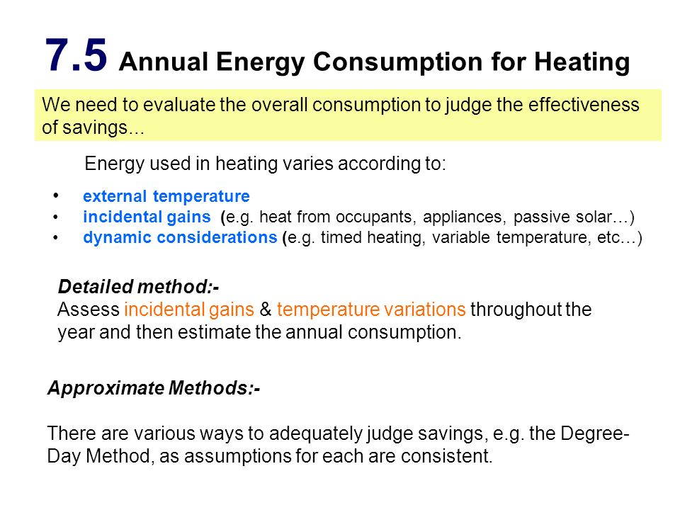 7.5 Annual Energy Consumption for Heating external temperature incidental gains (e.g. heat from occupants, appliances, passive solar…) dynamic conside