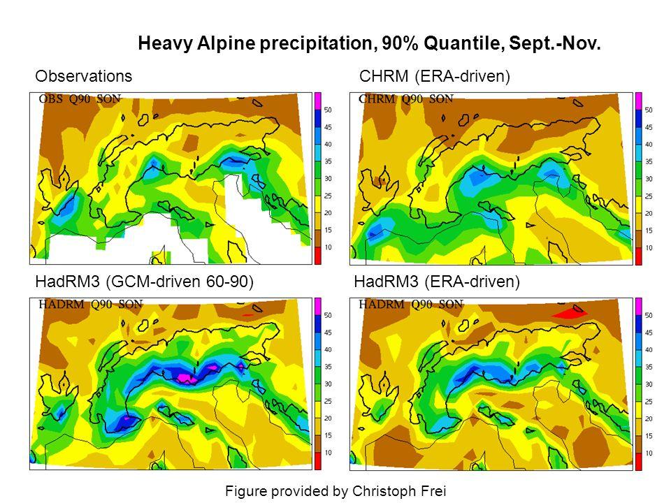 Observations Heavy Alpine precipitation, 90% Quantile, Sept.-Nov.