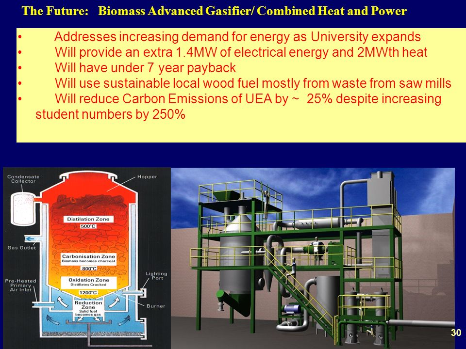 30 The Future: Biomass Advanced Gasifier/ Combined Heat and Power Addresses increasing demand for energy as University expands Will provide an extra 1