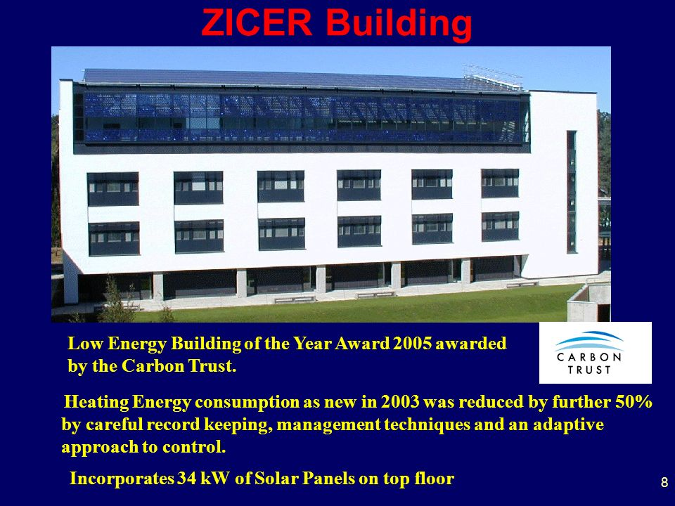 8 ZICER Building Heating Energy consumption as new in 2003 was reduced by further 50% by careful record keeping, management techniques and an adaptive