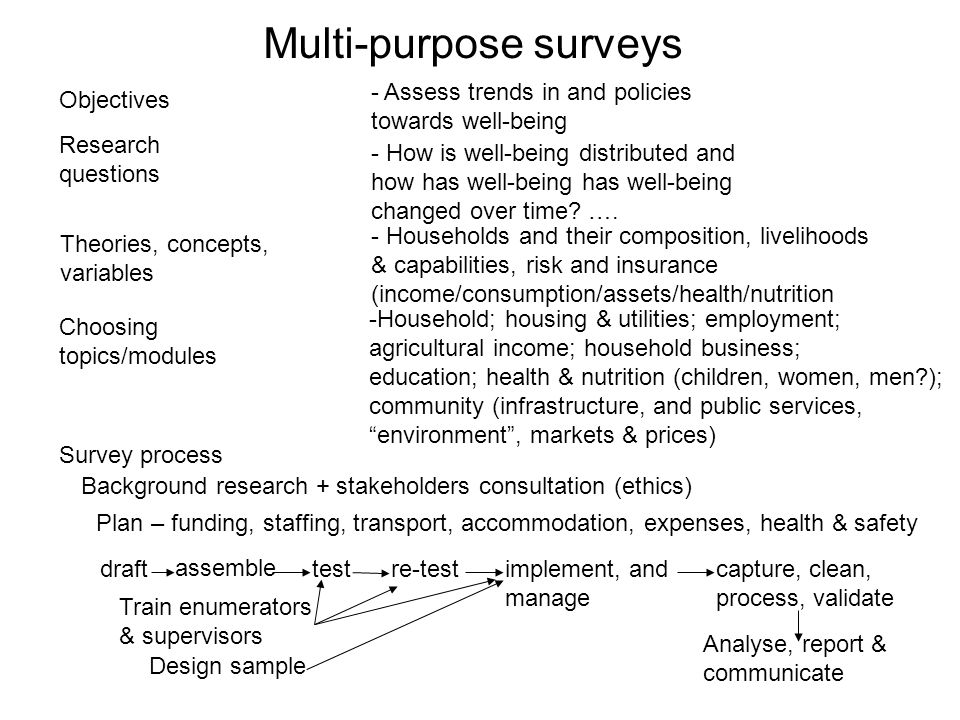 Survey process Research questions Theories, concepts, variables Choosing topics/modules Objectives drafttest assemble - How is well-being distributed and how has well-being has well-being changed over time.