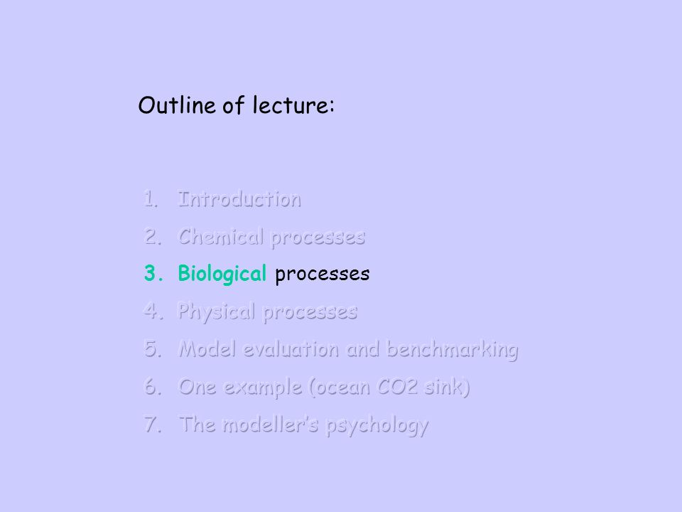 Outline of lecture: