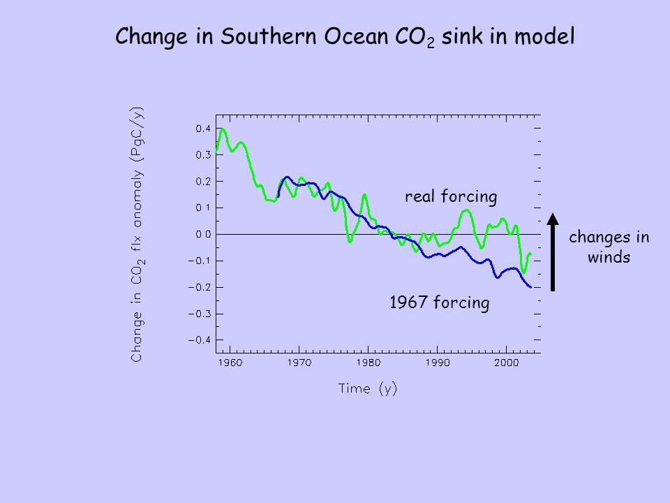 1967 forcing Change in Southern Ocean CO 2 sink in model changes in winds