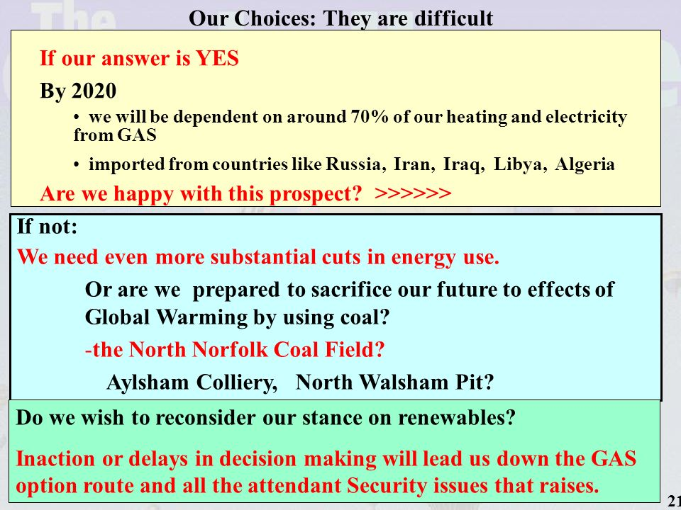 21 Our Choices: They are difficult If our answer is YES By 2020 we will be dependent on around 70% of our heating and electricity from GAS imported from countries like Russia, Iran, Iraq, Libya, Algeria Are we happy with this prospect.