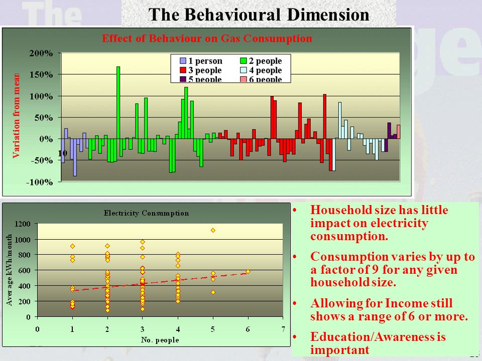 25 The Behavioural Dimension Household size has little impact on electricity consumption.