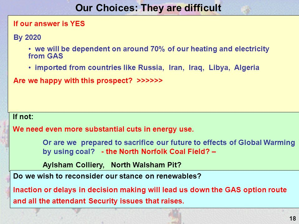 18 Our Choices: They are difficult If our answer is YES By 2020 we will be dependent on around 70% of our heating and electricity from GAS imported from countries like Russia, Iran, Iraq, Libya, Algeria Are we happy with this prospect.