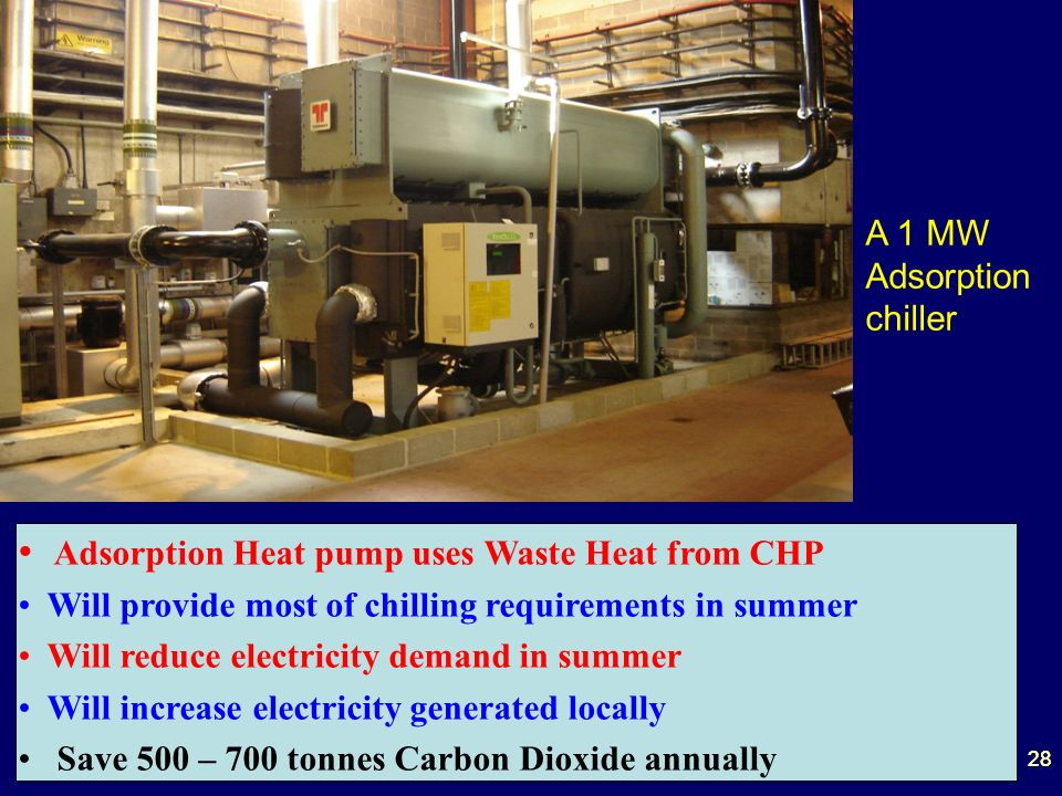 28 A 1 MW Adsorption chiller Adsorption Heat pump uses Waste Heat from CHP Will provide most of chilling requirements in summer Will reduce electricity demand in summer Will increase electricity generated locally Save 500 – 700 tonnes Carbon Dioxide annually