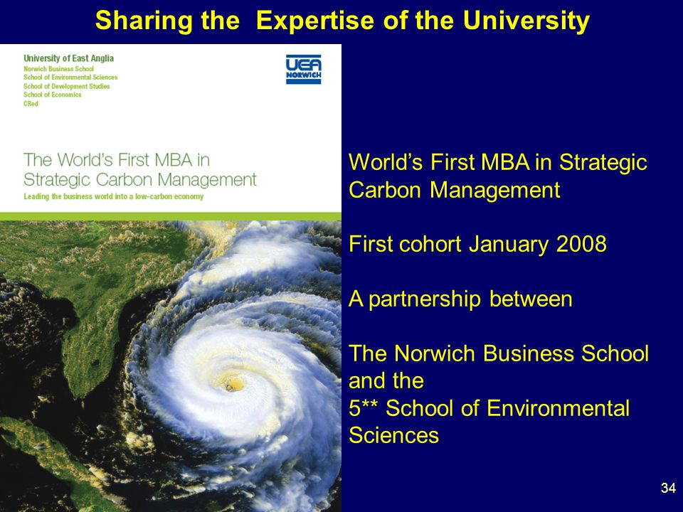 34 Worlds First MBA in Strategic Carbon Management First cohort January 2008 A partnership between The Norwich Business School and the 5** School of Environmental Sciences Sharing the Expertise of the University
