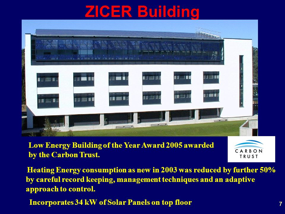 77 ZICER Building Heating Energy consumption as new in 2003 was reduced by further 50% by careful record keeping, management techniques and an adaptiv