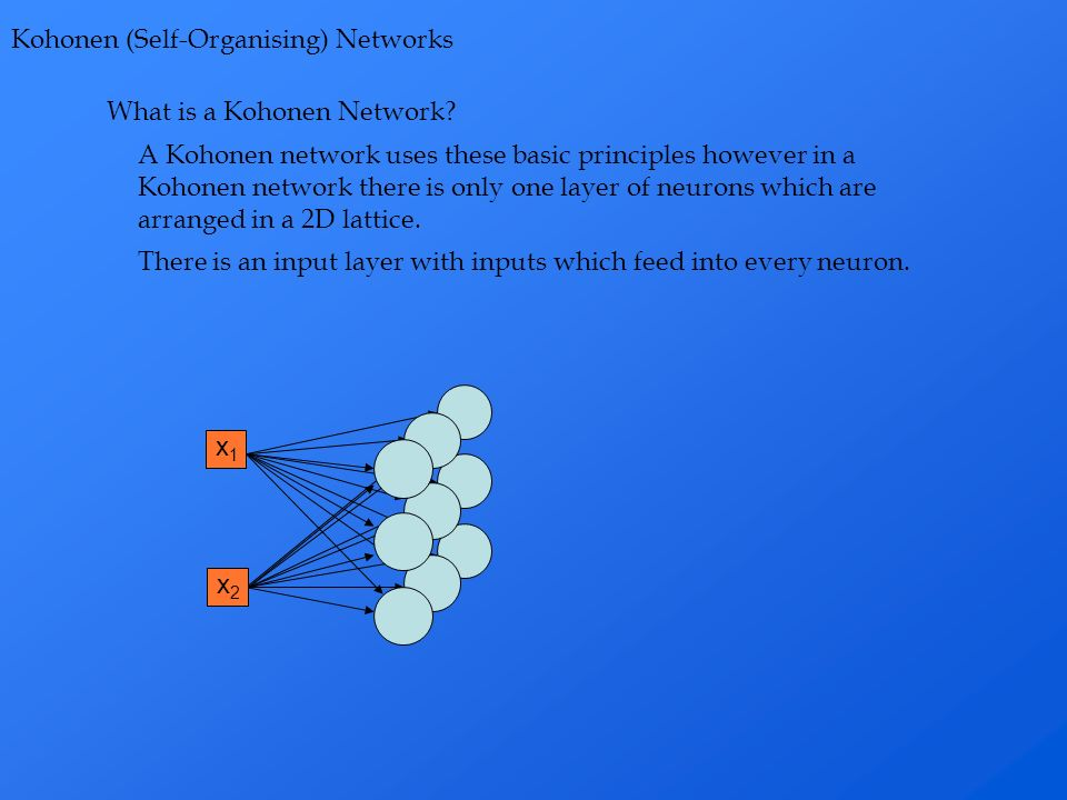 What is a Kohonen Network? Kohonen (Self-Organising) Networks A Kohonen network uses these basic principles however in a Kohonen network there is only