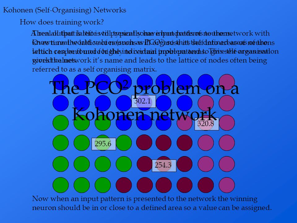 How does training work? Kohonen (Self-Organising) Networks A real output lattice will typically have hundreds of neurons. This self organisation gives