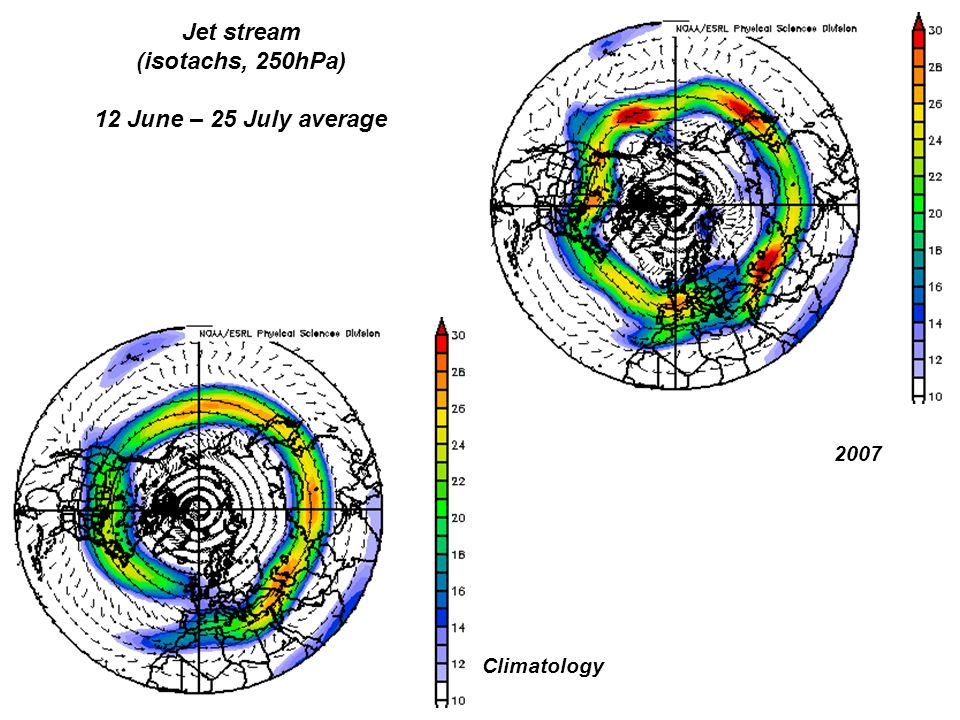 Jet stream (isotachs, 250hPa) 12 June – 25 July average 2007 Climatology