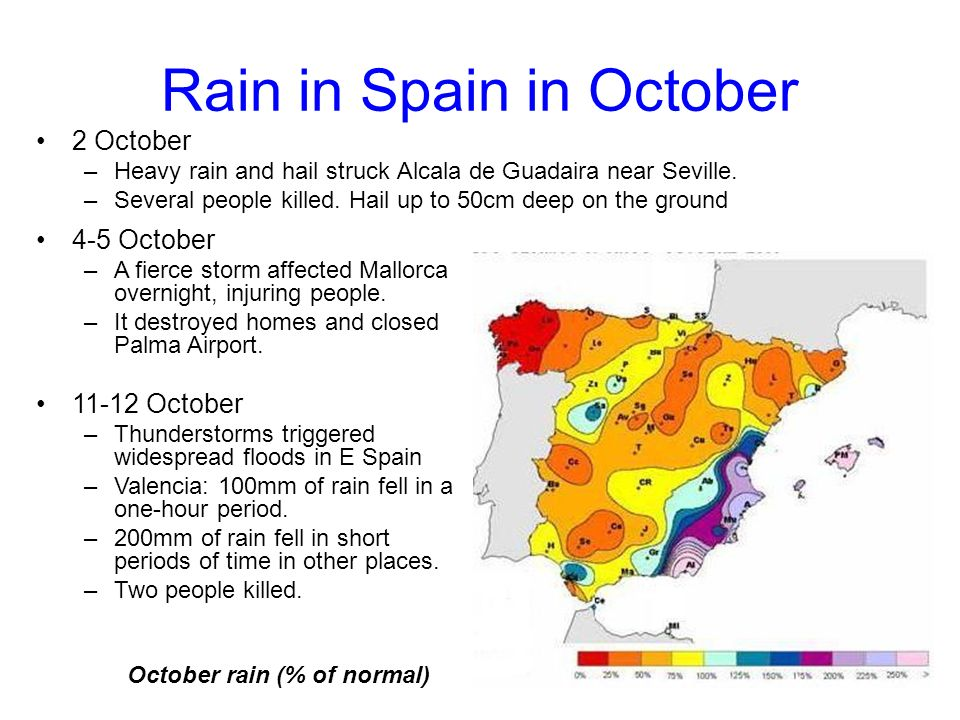 Rain in Spain in October 2 October –Heavy rain and hail struck Alcala de Guadaira near Seville.