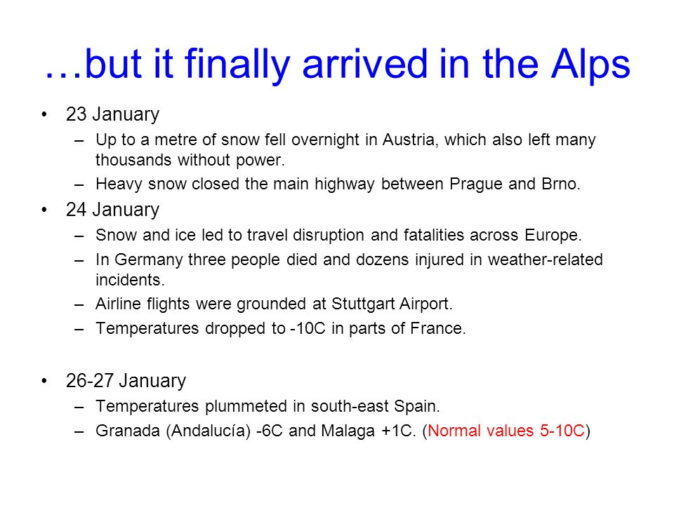 …but it finally arrived in the Alps 23 January –Up to a metre of snow fell overnight in Austria, which also left many thousands without power.