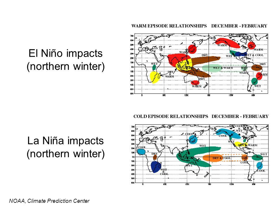 El Niño impacts (northern winter) NOAA, Climate Prediction Center La Niña impacts (northern winter)