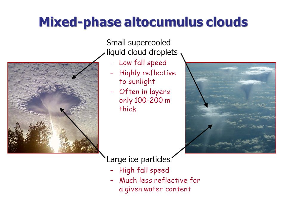 Mixed-phase altocumulus clouds Small supercooled liquid cloud droplets –Low fall speed –Highly reflective to sunlight –Often in layers only 100-200 m