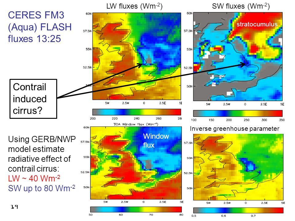 r.p.allan@reading.ac.uk © University of Reading 2009 19 CERES FM3 (Aqua) FLASH fluxes 13:25 Contrail induced cirrus.