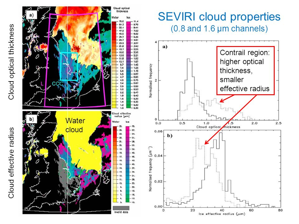 r.p.allan@reading.ac.uk © University of Reading 2009 20 Cloud effective radius Cloud optical thickness Contrail region: higher optical thickness, smaller effective radius SEVIRI cloud properties (0.8 and 1.6 μm channels) Water cloud