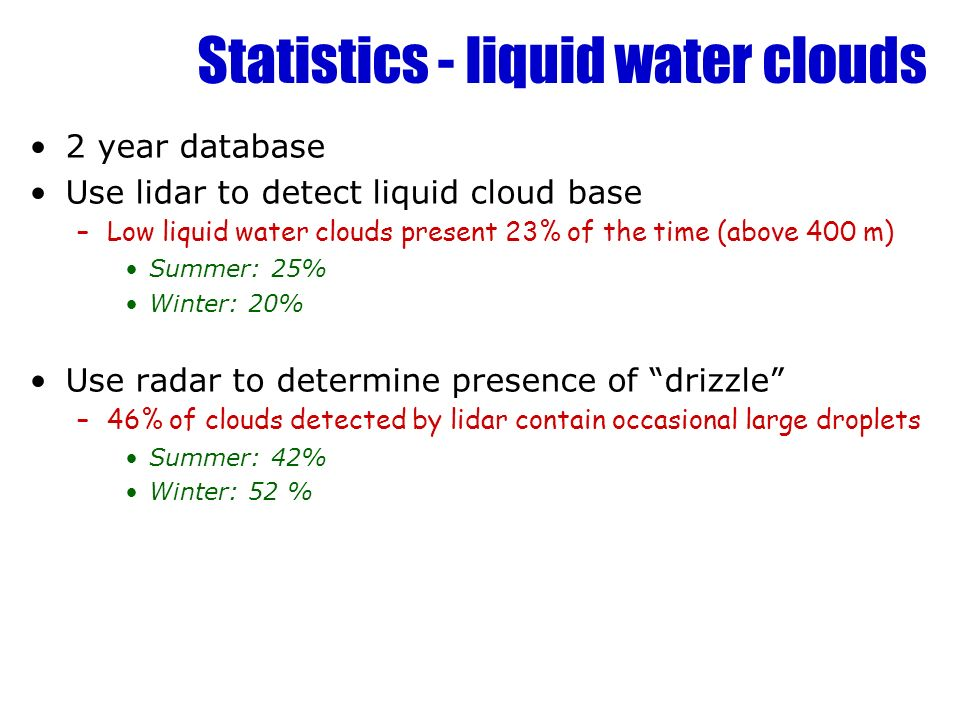 Statistics - liquid water clouds 2 year database Use lidar to detect liquid cloud base –Low liquid water clouds present 23% of the time (above 400 m)