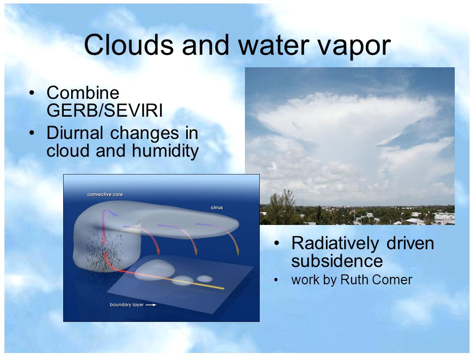 Clouds and water vapor Combine GERB/SEVIRI Diurnal changes in cloud and humidity Radiatively driven subsidence work by Ruth Comer