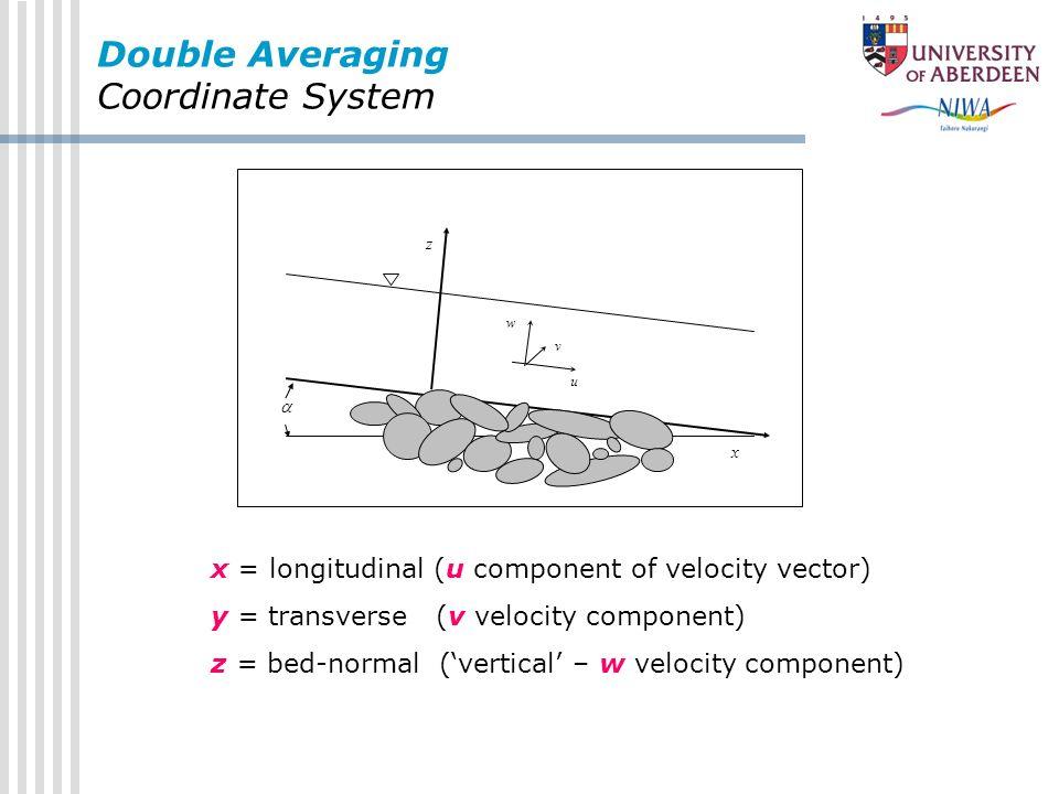 Double Averaging Coordinate System z x u v w x = longitudinal (u component of velocity vector) y = transverse (v velocity component) z = bed-normal (v