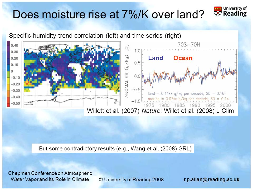 © University of Reading Chapman Conference on Atmospheric Water Vapor and Its Role in Climate Does moisture rise at 7%/K over land.