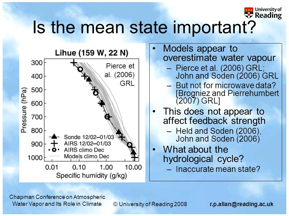 © University of Reading 2008r.p.allan@reading.ac.uk Chapman Conference on Atmospheric Water Vapor and Its Role in Climate Is the mean state important.