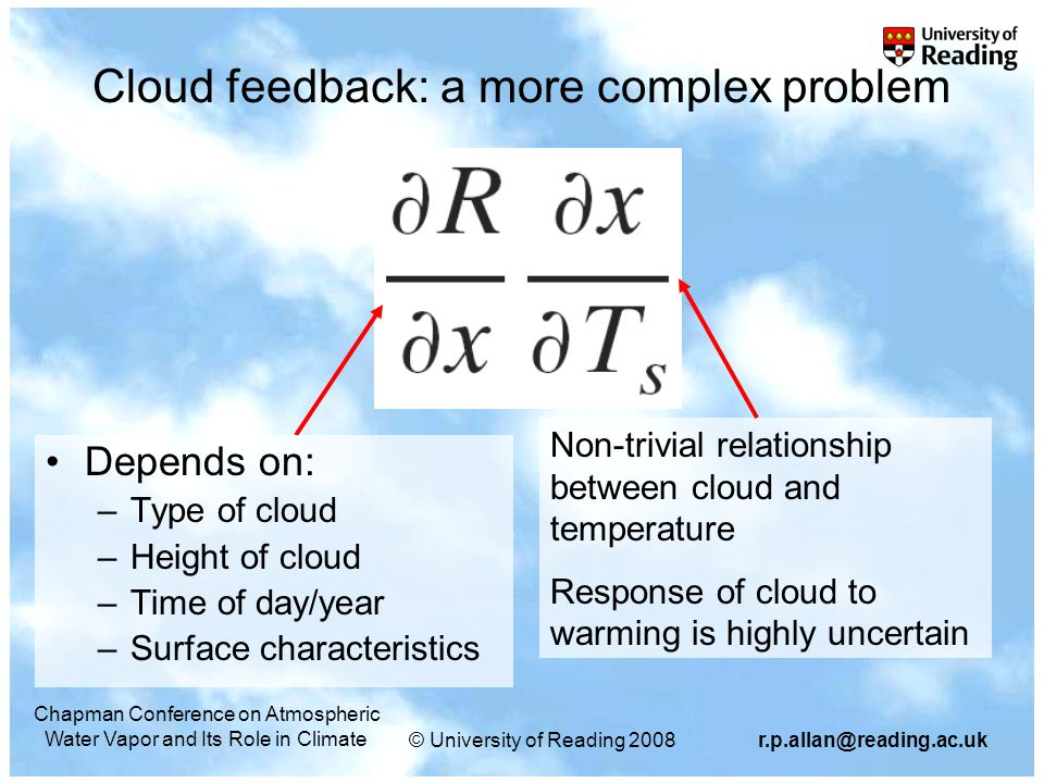 © University of Reading 2008r.p.allan@reading.ac.uk Chapman Conference on Atmospheric Water Vapor and Its Role in Climate Cloud feedback: a more compl