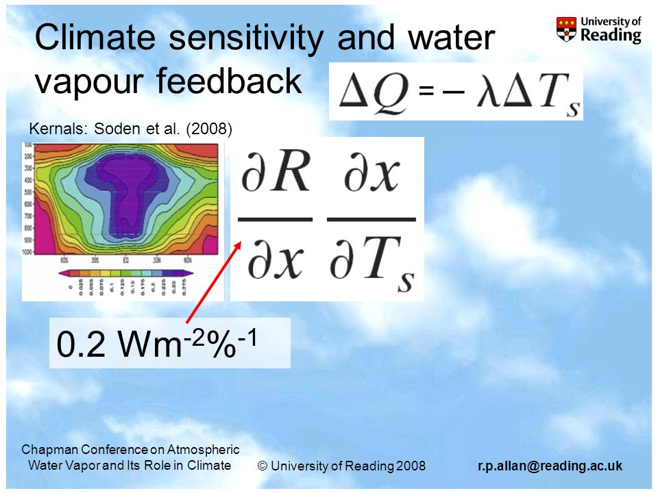 © University of Reading Chapman Conference on Atmospheric Water Vapor and Its Role in Climate Climate sensitivity and water vapour feedback 0.2 Wm -2 % -1 = Kernals: Soden et al.