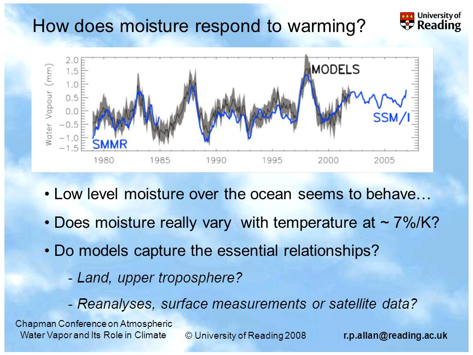 © University of Reading 2008r.p.allan@reading.ac.uk Chapman Conference on Atmospheric Water Vapor and Its Role in Climate Does moisture rise at 7%/K over land.