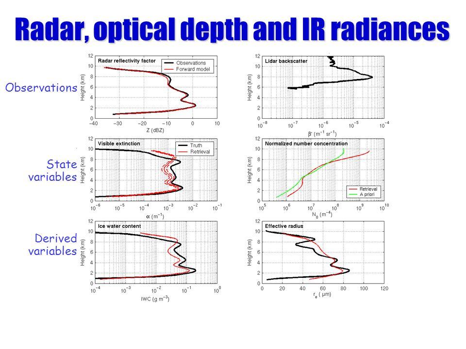 Radar, optical depth and IR radiances Observations State variables Derived variables
