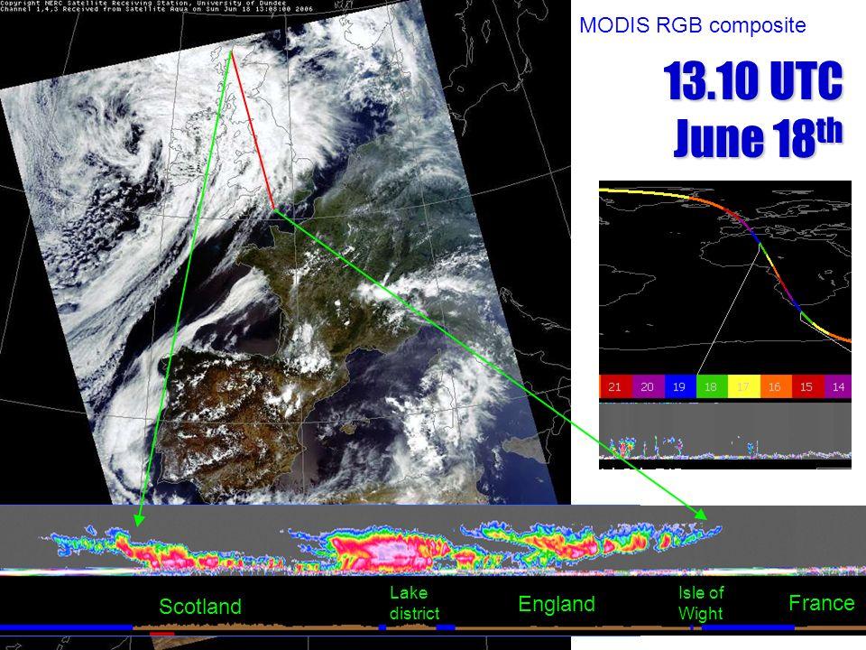 13.10 UTC June 18 th Scotland England Lake district Isle of Wight France MODIS RGB composite