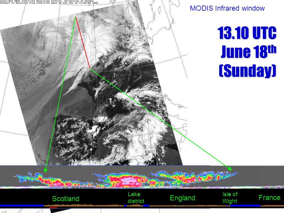 Scotland England Lake district Isle of Wight France MODIS Infrared window 13.10 UTC June 18 th (Sunday)