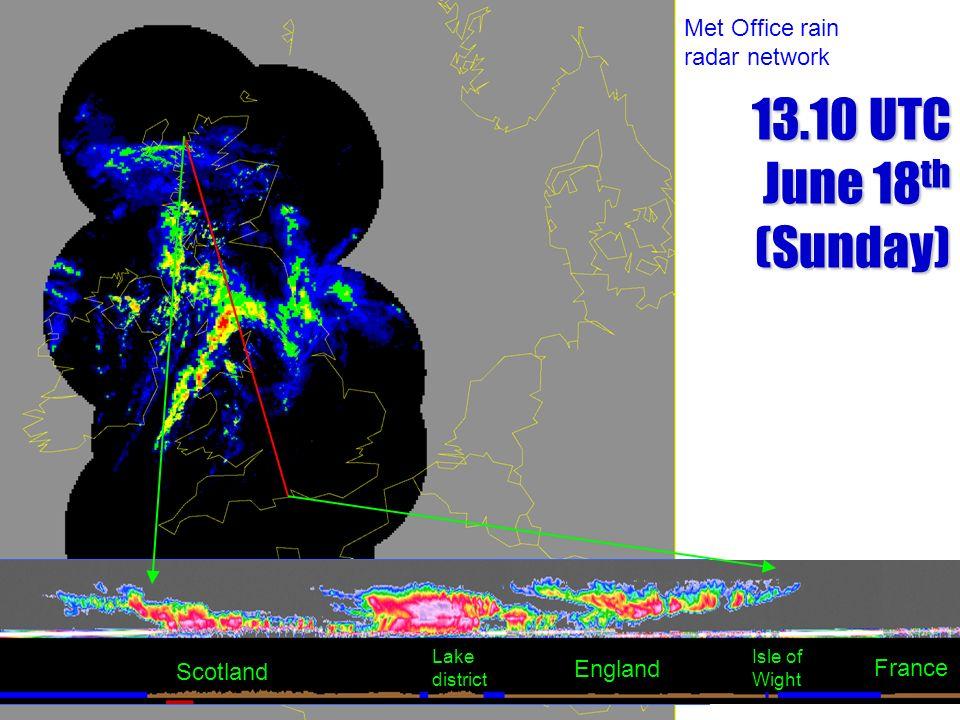 Scotland England Lake district Isle of Wight France Met Office rain radar network 13.10 UTC June 18 th (Sunday)