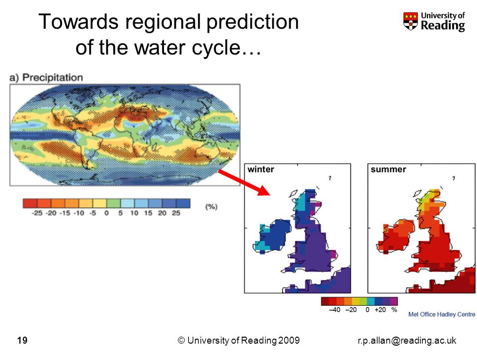 r.p.allan@reading.ac.uk© University of Reading 200919 Towards regional prediction of the water cycle…