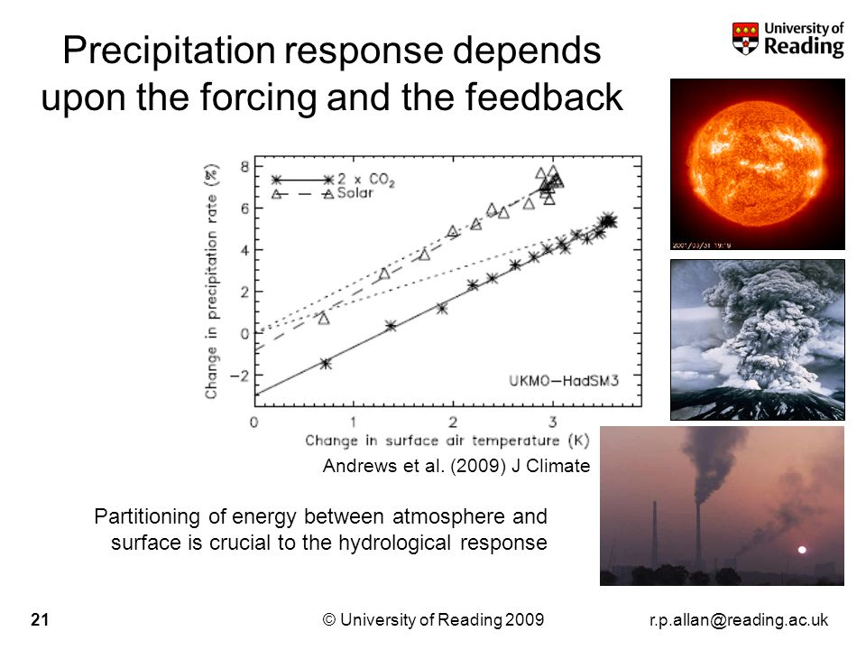 r.p.allan@reading.ac.uk© University of Reading 200921 Precipitation response depends upon the forcing and the feedback Andrews et al. (2009) J Climate