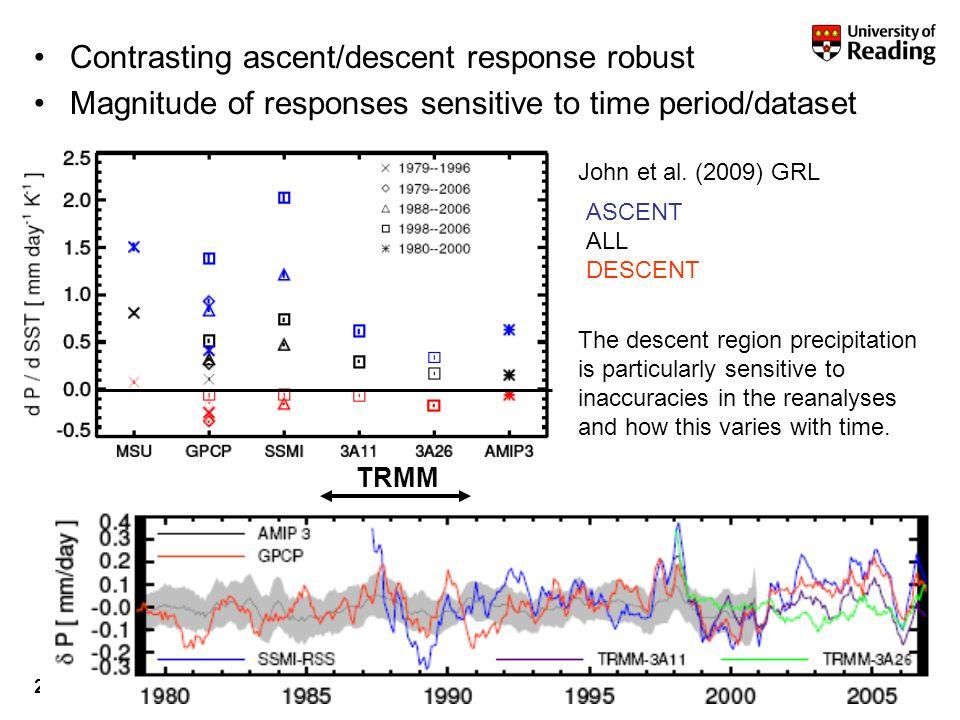 r.p.allan@reading.ac.uk© University of Reading 200922 TRMM ASCENT ALL DESCENT Contrasting ascent/descent response robust Magnitude of responses sensitive to time period/dataset John et al.